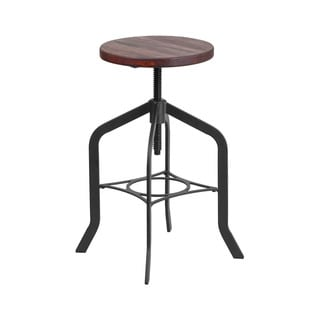 Offex 24'' Height Adjustable Counter Height Stool with Swivel Lift Wood Seat