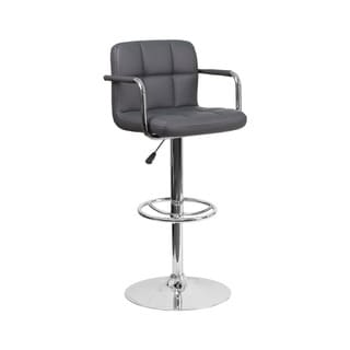 Offex Contemporary Gray Quilted Vinyl Height Adjustable Barstool with Arms and Chrome Base