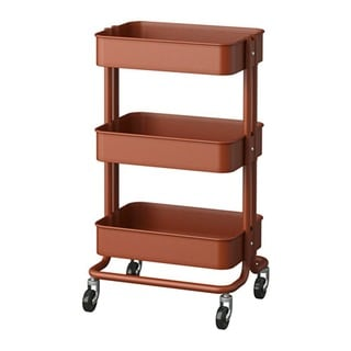 RASKOG Home Kitchen Storage Red Brown Utility Cart