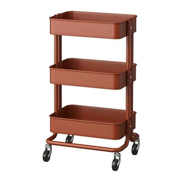Kitchen Utility Carts: RASKOG Home Kitchen Storage Red Brown Utility Cart