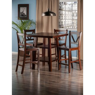 Winsome 5 Piece Orlando Dining Table Set With 4 V-Back Counter Stools