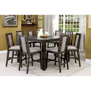 Furniture of America Basson Rustic Grey 9-Piece Expandable Counter Height Dining Set
