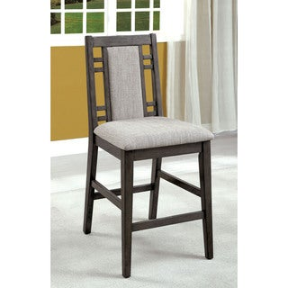 Furniture of America Basson Rustic Grey Padded Fabric Counter Height Chair (Set of 2)