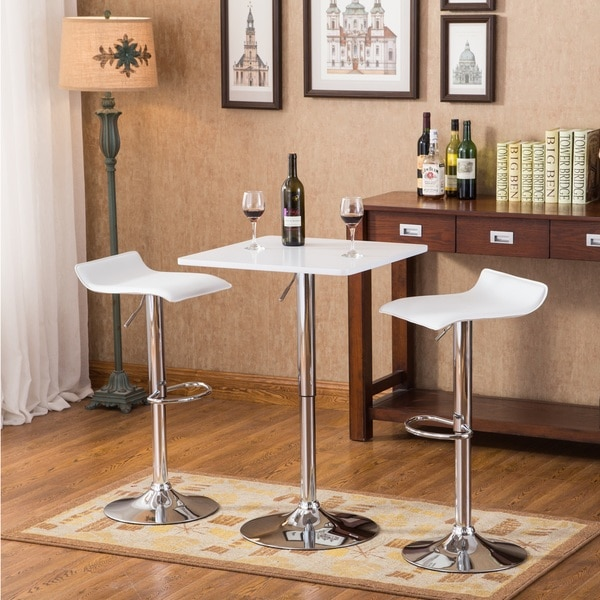 Shop baxton white square top adjustable height wood and chrome metal baxton white square top adjustable height wood and chrome metal bar table and 2 chrome air watchthetrailerfo