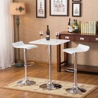Baxton White Square Top Adjustable Height Wood and Chrome Metal Bar Table and 2 Chrome Air Lift Adjustable Swivel Stools Set