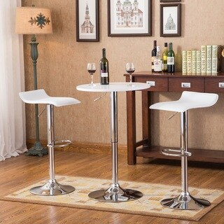 Baxton 3-piece White Adjustable Height Wood and Chrome Metal Bar Set