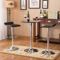 Baxton Black Adjustable Height Wood and Chrome Metal Bar Table and 2 Black Chrome Air Lift Adjustable Swivel Stools Set