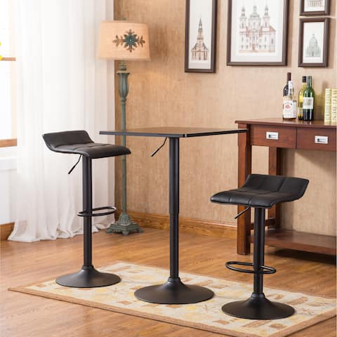 Belham Black Square Top Adjule Height Metal Bar Table And 2 Swivel Bonded Leather