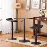 Belham Black Square Top Adjustable Height Metal Bar Table and 2 Swivel Bonded Leather Adjustable Bar Stools Sets