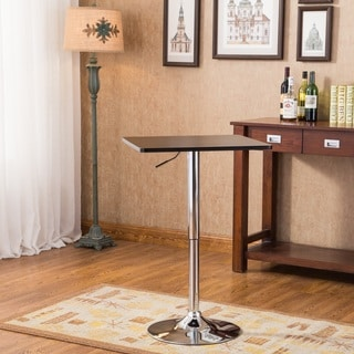 Baxton Black Square Top Adjustable Height Wood and Chrome Metal Bar Table