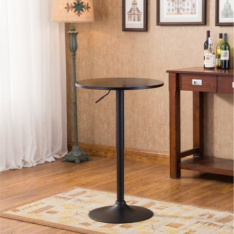 Copper Grove Parnasuss Black Round Top Adjule Height Metal Bar Table