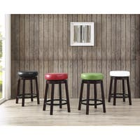 Clay Alder Home Humboldt Swivel Counter Height Bar Stool with Leather Seat and Metal Foot Rest (Set of 2)