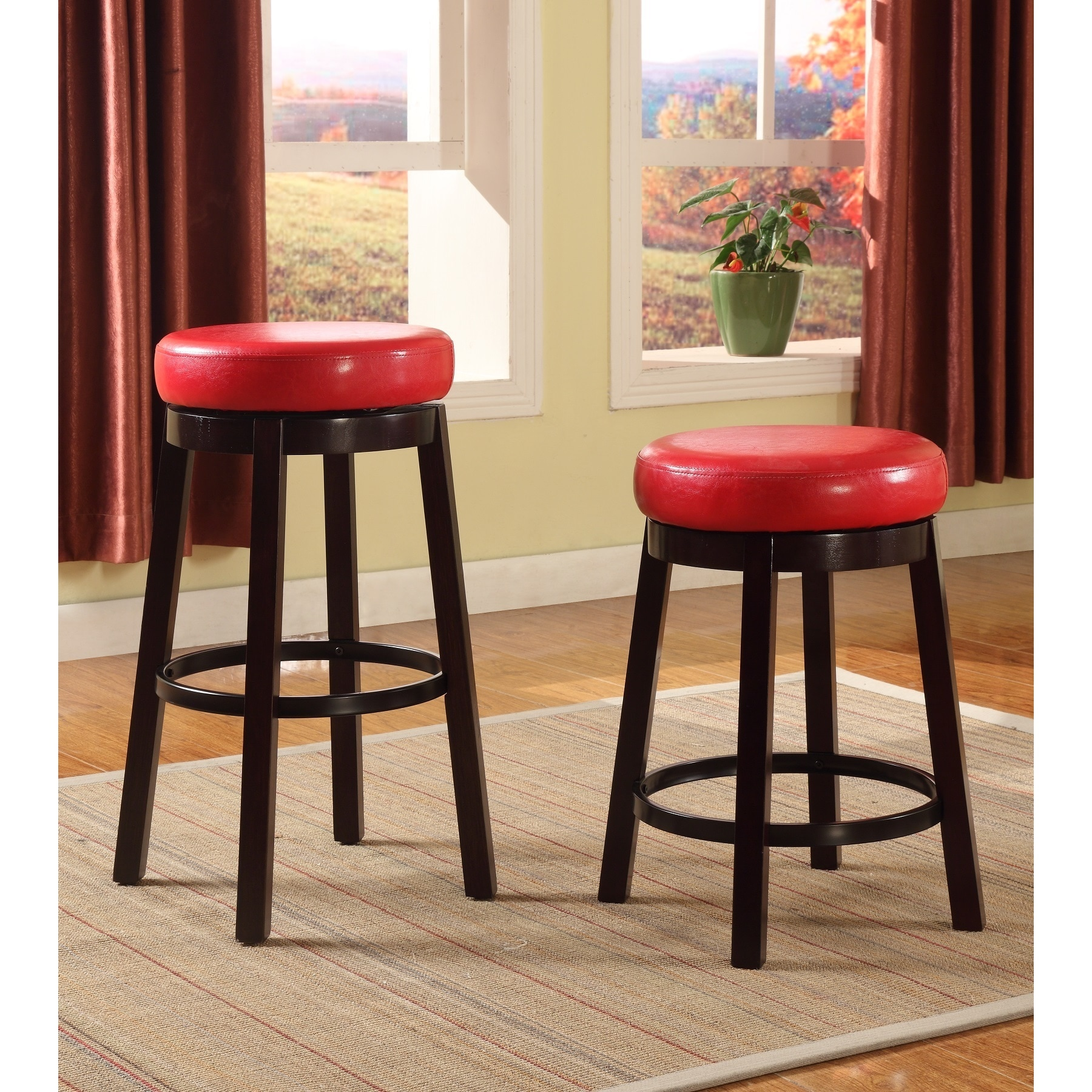 swivel counter height bar stool with leather seat and metal foot rest set of 2 ebay. Black Bedroom Furniture Sets. Home Design Ideas