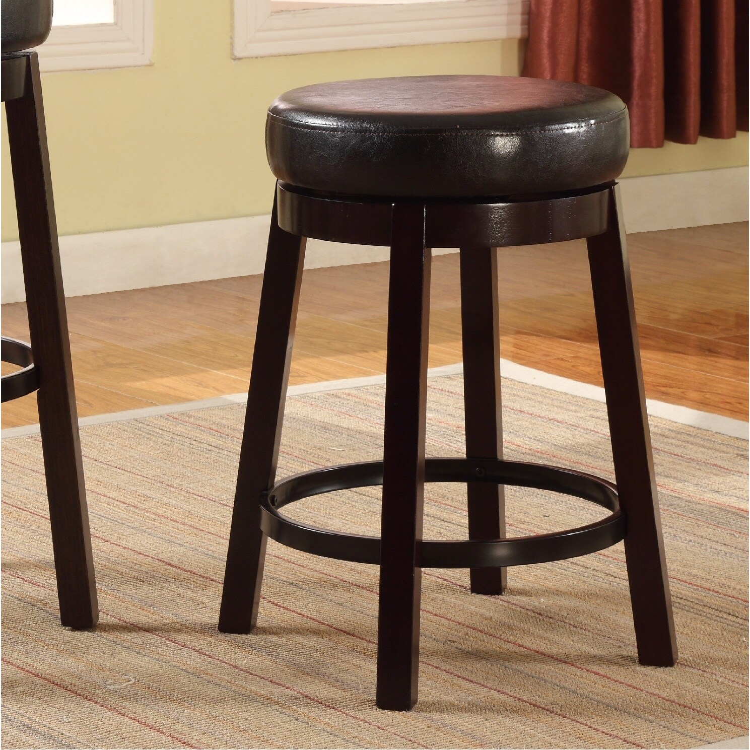 Swivel Counter Height Bar Stool With Leather Seat And
