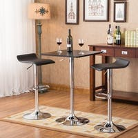 Baxton Black Square Top Adjustable Height Chrome Metal Bar Table and Swivel Stools 3-piece Set