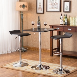 Baxton Black Square Top Adjustable Height Chrome Metal Bar Table and Swivel Stools 3-piece & Bar u0026 Pub Table Sets For Less | Overstock.com