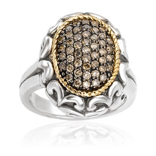 Avanti Sterling Silver and 18K Yellow Gold 1/2 Ct TDW Brown Diamond Pave Oval Ring (Brown, SI2-I1)