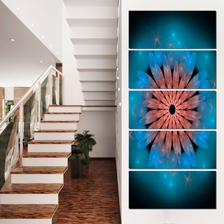 Fractal Blooming Turquoise Flower - Floral  Art Canvas Print