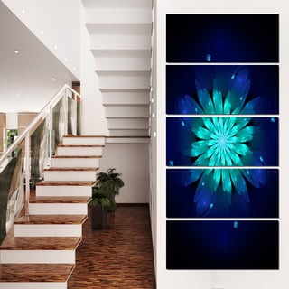 Fractal Flower Blue N Turquoise - Floral  Art Canvas Print