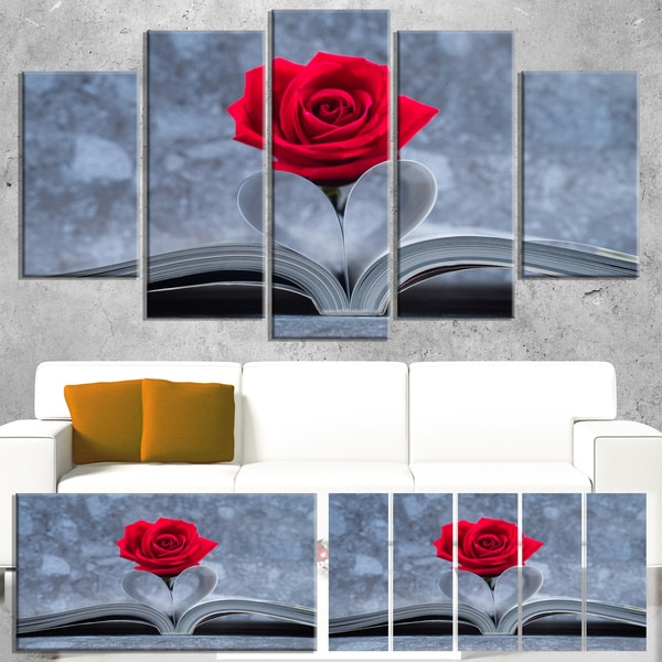 Red Rose Inside the Book - Floral Art Canvas Print