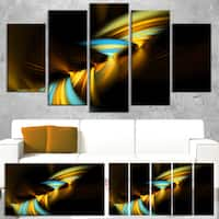Fractal 3D Layers Yellow Blue - Abstract  Art Canvas Print