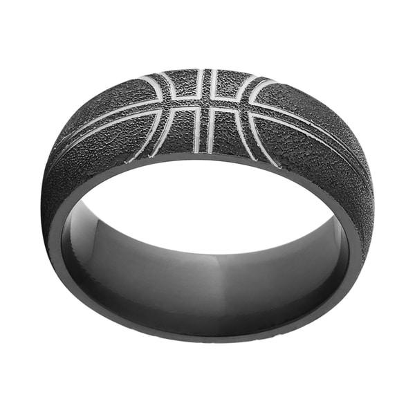 Black Zirconium Comfort-fit Basketball Wedding Band Ring. Opens flyout.