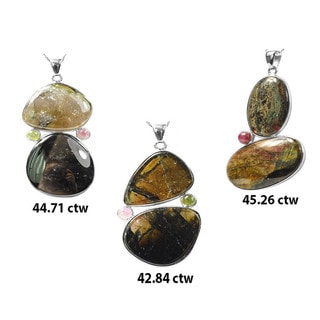 De Buman Sterling Silver Tourmaline Pendant Necklace (22-inch Chain)