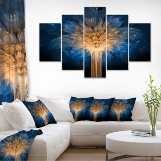 Fractal 3D Blue Dragon Flower - Abstract  Art Canvas Print