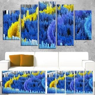 Macro Render Structure Blue Yellow -  Art Canvas Print