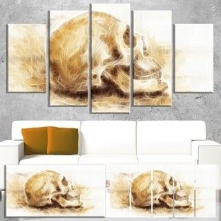 Skull on Paper Fractal Effect - Abstract  Art Canvas Print