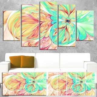 Red Green Paper Flower - Floral  Art Canvas Print