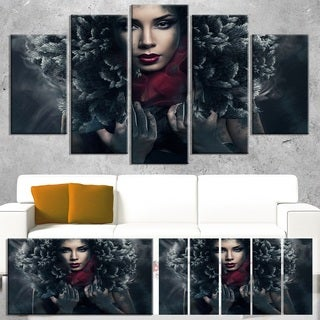 Passionate Woman in Feather Hood - Art Portrait Canvas Print