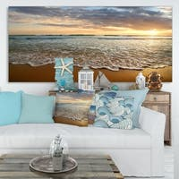 Bright Cloudy Sunset in Calm Ocean Contemporary Seascape Art Canvas