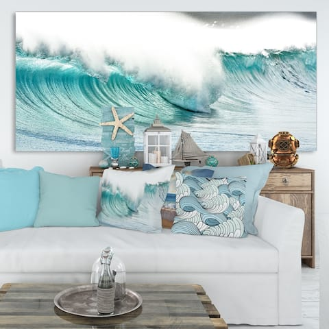 Massive Blue Waves Breaking Beach - Contemporary Seascape Art Canvas