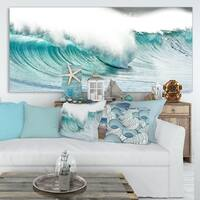 Massive Blue Waves Breaking Beach - Contemporary Seascape Art Canvas