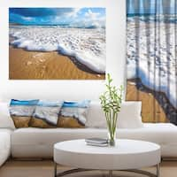 Foaming Ocean Waves on Sand - Extra Large Seascape Art Canvas