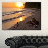 Palm Trees on Background at Sunset - Extra Large Seascape Art Canvas