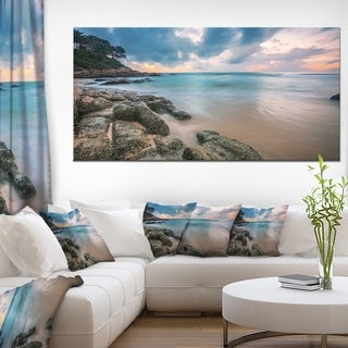 Gloomy Tropical Sunset Beach - Extra Large Seascape Art Canvas