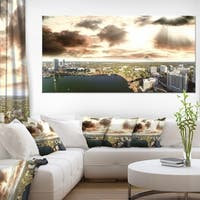 Downtown Orlando Sunset Aerial - Extra Large Seascape Art Canvas
