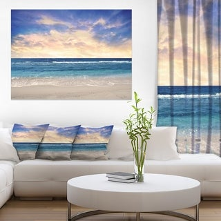 Clear Blue Sky and Ocean at Sunset - Extra Large Seascape Art Canvas