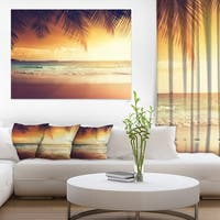 Palm Leaves on Caribbean Seashore - Modern Seashore Canvas Art