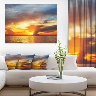 Fiery Sky at Sunset Over Sea - Modern Seashore Canvas Art