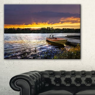 Boat Docked in Lake at Sunset - Modern Seashore Canvas Art