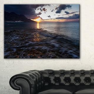 Gloomy Sea Coast at Sunrise - Modern Seashore Canvas Art