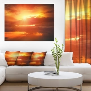 Yellow Sunset above Clouds - Oversized Beach Canvas Artwork