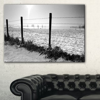 Landscape in Snow with Fence - Oversized Beach Canvas Artwork