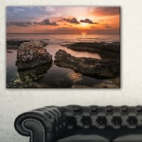 Rough Coast with Ancient Ruins - Oversized Beach Canvas Artwork