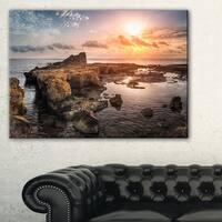 Sunset over Rocky African Coast - Oversized Beach Canvas Artwork