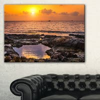 Colorful Rocky Coast at Sunset - Oversized Beach Canvas Artwork