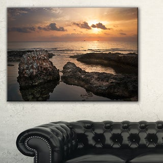 Dark Africa Beach with Ancient Ruins - Oversized Beach Canvas Artwork